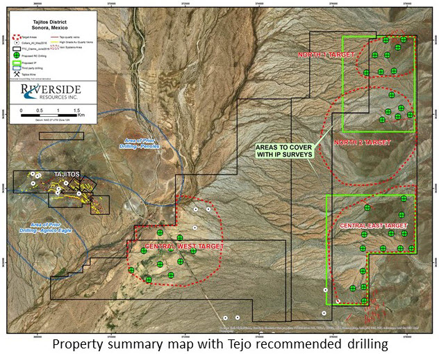 Property summary map with Tejo recommended drilling