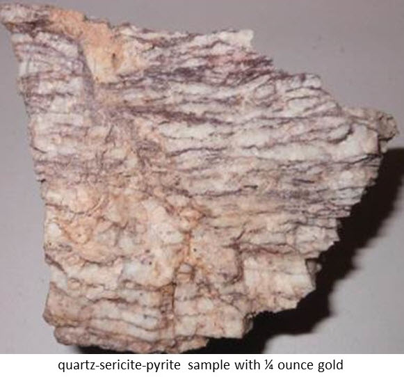 quartz-sericite-pyrite sample with ¨ ounce gold